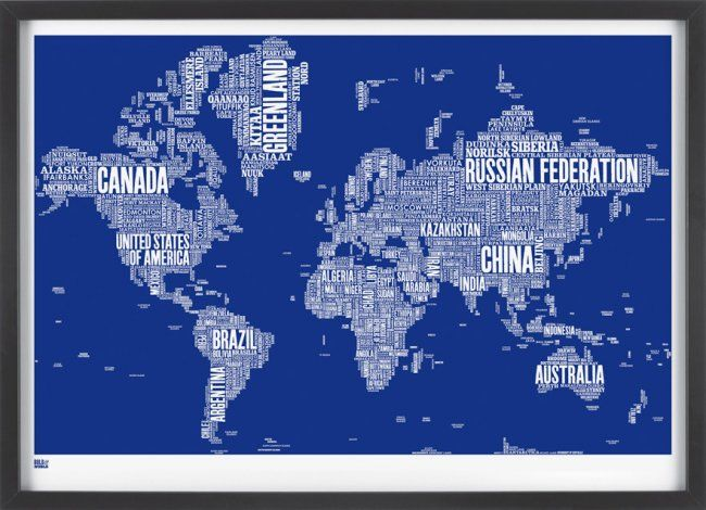 Bold and Noble World Type Map Print, $96.95. A great Valentine's Day gift idea for the special guy in your life!