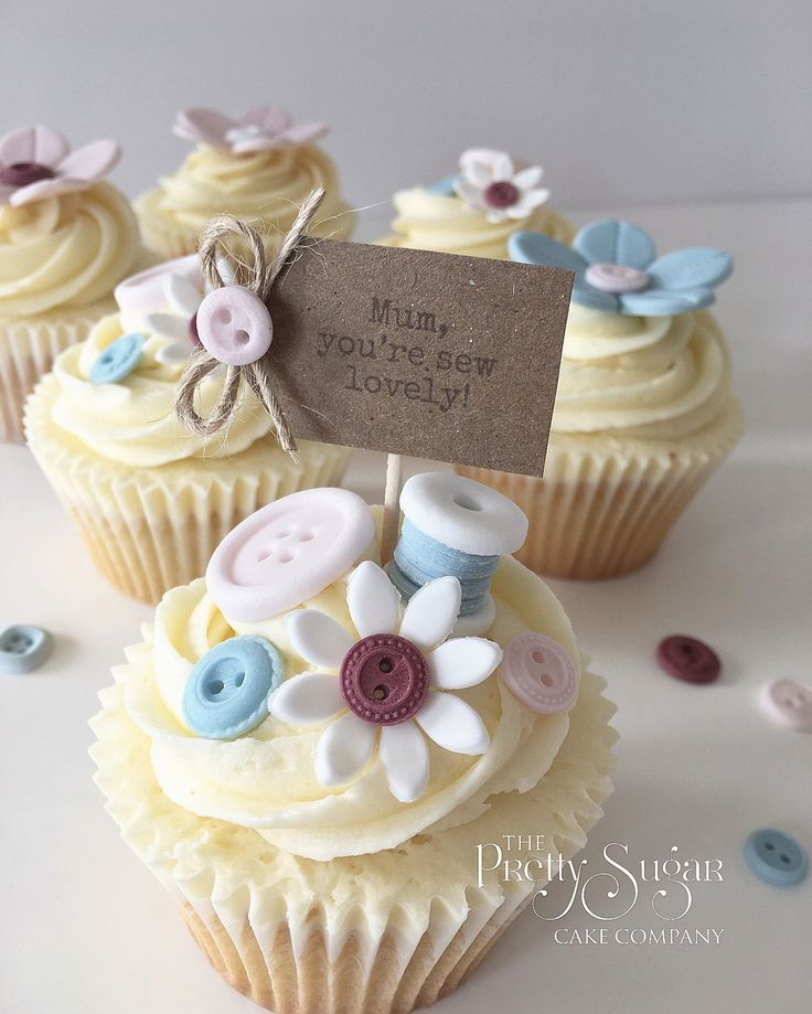 Buttons and blossoms Mother's Day cupcakes