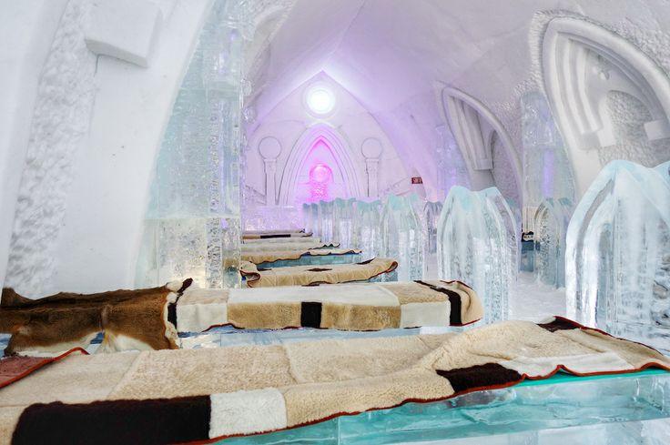 """The Fourrures Grenier Chapel, at Quebec City's Hotel de Glace. Beautiful! / La chapelle Fourrures Grenier de l'Hôtel de Glace de Québec. Magnifique!   From """"Dare to Go"""" Baby it's Cold Inside – How to Survive Overnight at an Ice Hotel"""