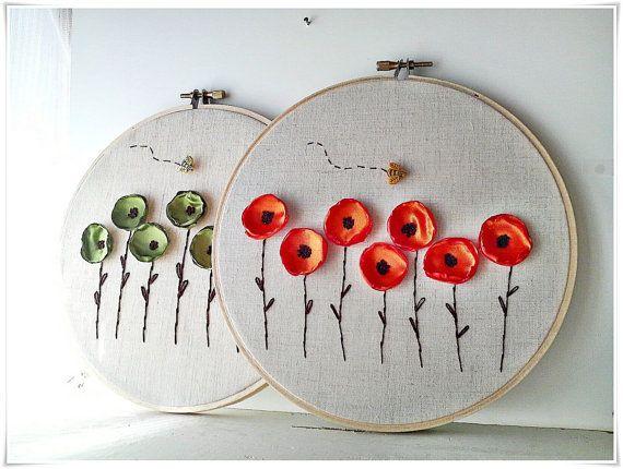 Embroidery wall hoop art  Poppy Flower by KawaiiSakuraHandmade, ¥6000