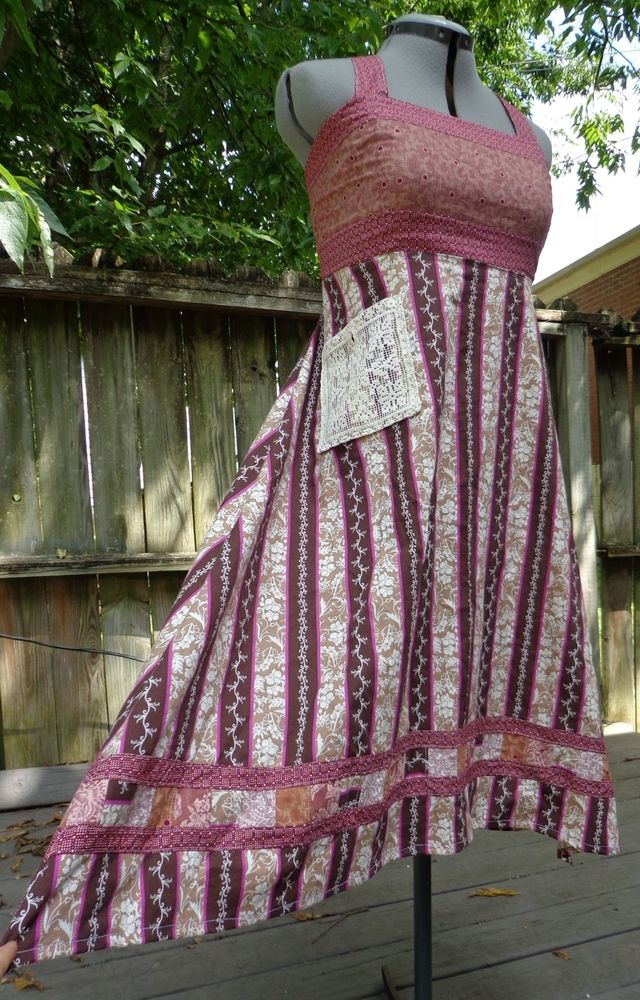 Image of *A Dance in Plum* Patchwork Dress - eggplant purple striped hippie patchwork festival sundress with lace pocket, stash pocket, and corset back