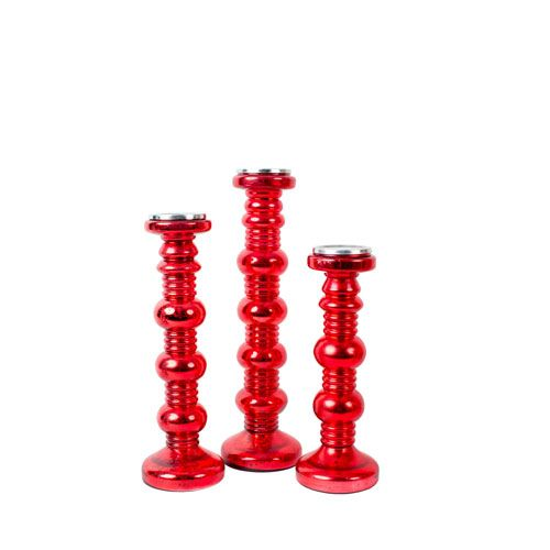 Red Candle Holders, Set of Three