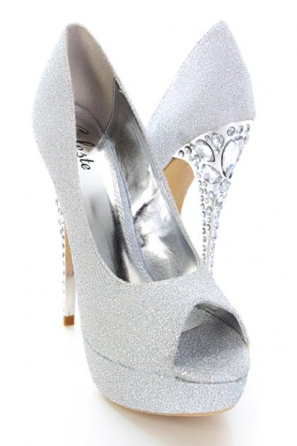 Silver Glitter Heels | ... Archive / Silver Glitter Upper Round Peep Toes Rhinestone Heels Pumps