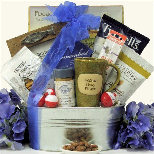 There is even a photo frame with a fishing theme as well as a ceramic mug with a fish-themed message.   The other items include snelled fish hooks, fishing bobbers, white cheddar flavored cheese spread, east shore seasoned pretzels and Foccaccia crisps Tuscan style crackers.  All inside a galvanized tub with handles.