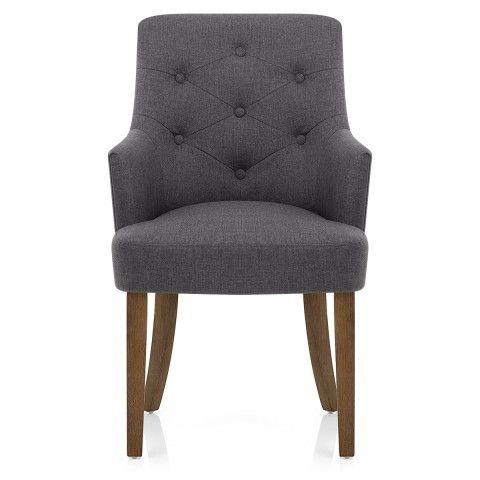 Broadway Oak Chair Charcoal Fabric - Atlantic Shopping