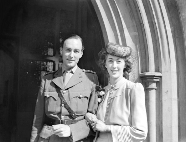 September 5th, 1942: 'The wedding took place at St Phillips Church, south west London, between Miss Joan Benham, an actress playing with a repertory company in Edinburgh, whose father is a well known theatrical manager and her mother is Olive Sturgess, formerly with the British National Opera Company, and now with ENSA, and Captain Martin L. Case of the Pioneer Corps. ' (Photo by Planet News Archive/SSPL/Getty Images)