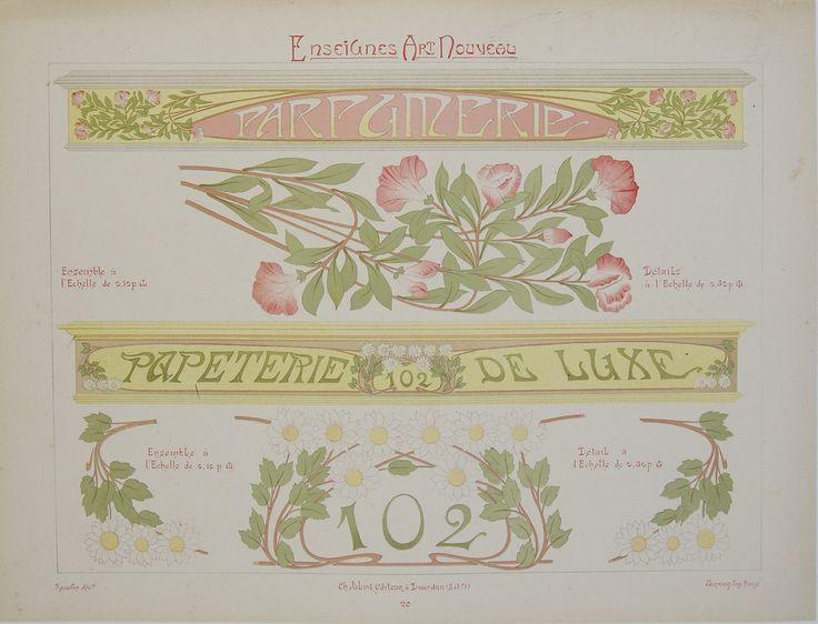 Enseignes Art Nouveau - Parfumerie, Papeterie de Luxe – Rue Marcellin Vintage French Posters & Prints