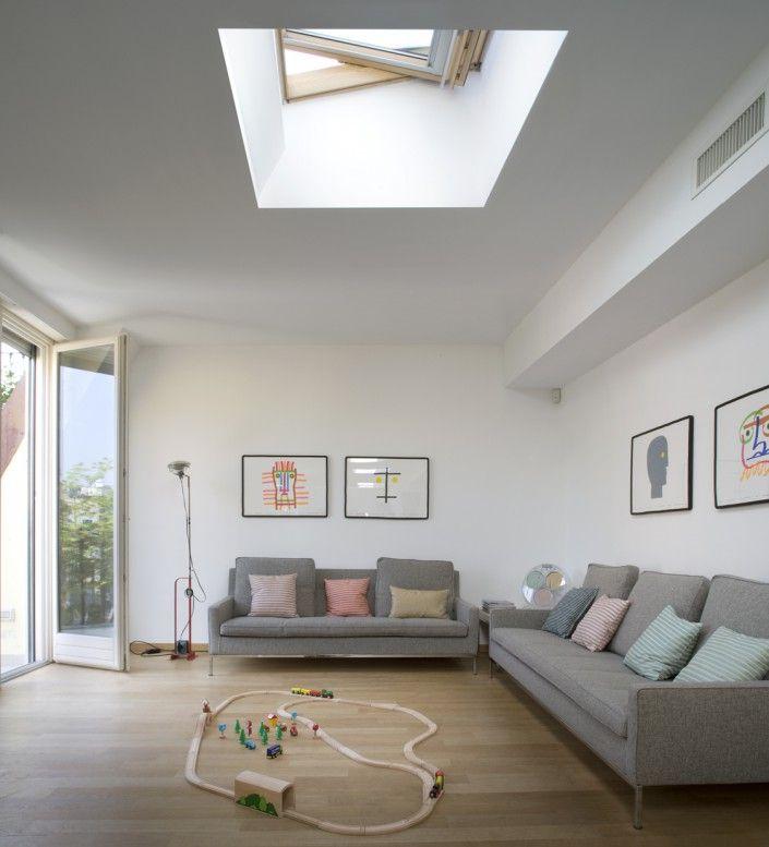 Un piano attico con tetto piano