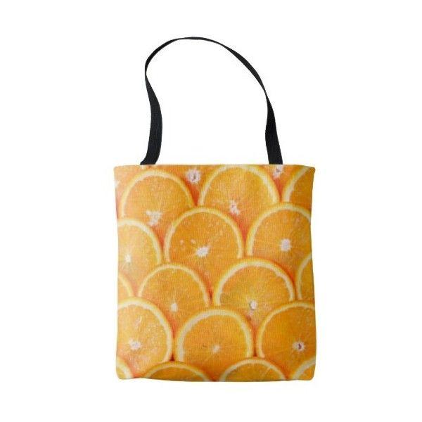 Orange Slices Tote Bag ($23) ❤ liked on Polyvore featuring bags, handbags, tote bags, fruit, orange, slice, orange tote, tote handbags, tote hand bags and tote purses
