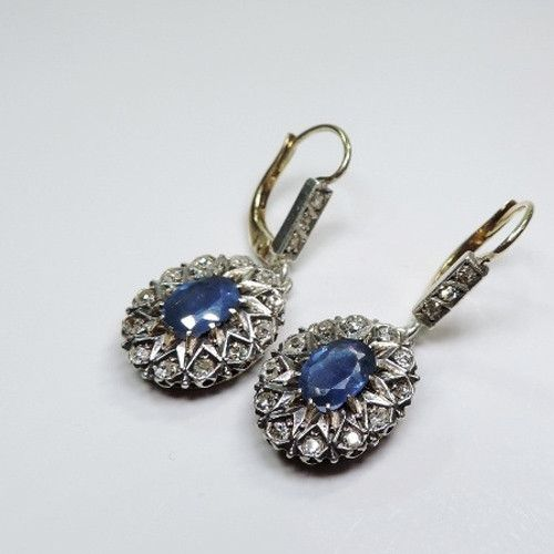 Antique Victorian 18k Gold & Silver Diamond & Sapphire Earrings