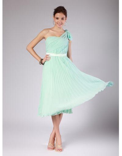 Discount Chiffon One Shoulder Pleats Sash Empire Mint Bridesmaid Dress [bridesmaid331] - US $171.99 : IdoDress