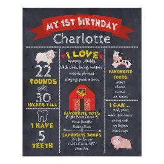 Chalkboard Farmyard Milestones 1st Birthday Poster