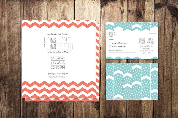 Geometric Print Wedding Stationery Set by I Do Invites by Sally