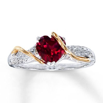 Purity/ promise ring idea for our future daughter. Sterling Silver & 14K Gold Diamond & Lab-Created Ruby Ring