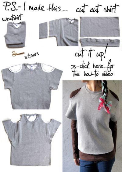 """done by """"P.S. I made this...""""- i like the idea. maybe not with a sweat shirt though. it could be cute with a summer shirt!"""