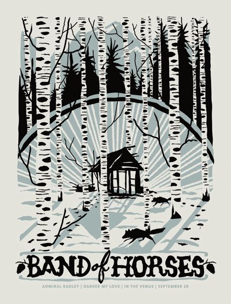 I especially like the color scheme for this Band of Horses gig poster by Furturtle Printworks.