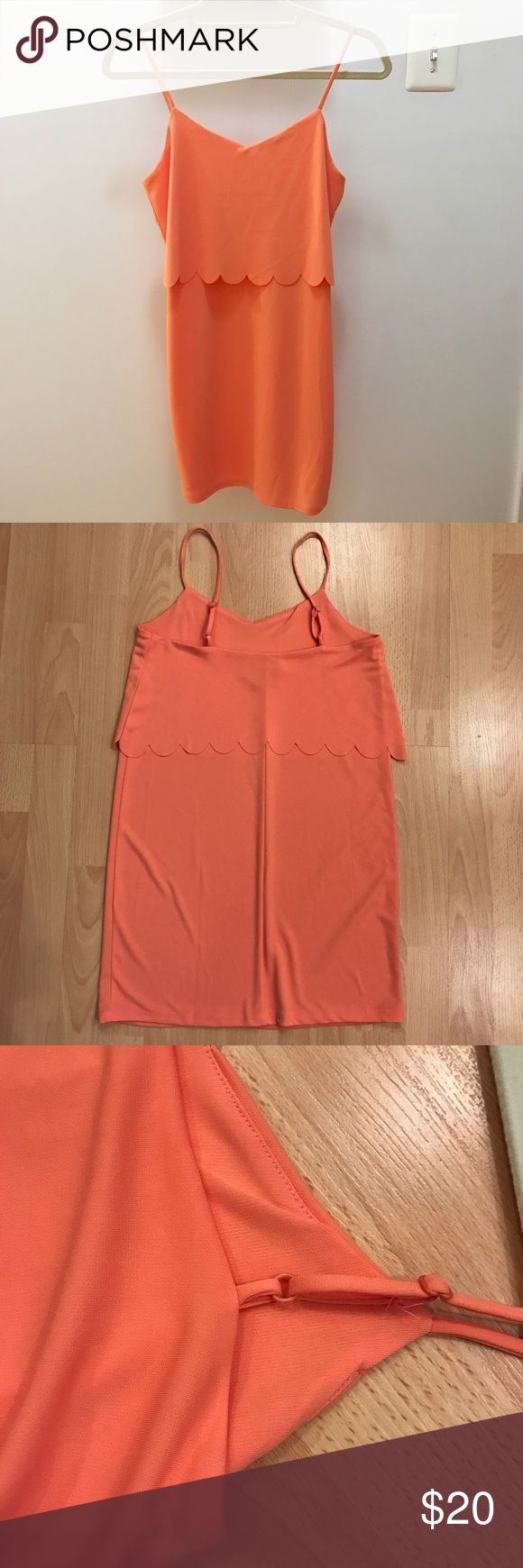ASOS: Coral Cami Dress With Scallop Layer Coral cami dress with scallop layer. Adjustable straps. Very gently used, excellent condition! ASOS Petite Dresses Mini