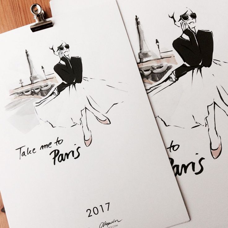 """Illustrated Calendar 2017 """"Take me to Paris"""" features 5 of my original ink & watercolor illustrations inpired by the most beautiful city in the world, Paris. If you fall in love in Paris like me, you can order 2017 Calendar now and enjoy all year long!"""