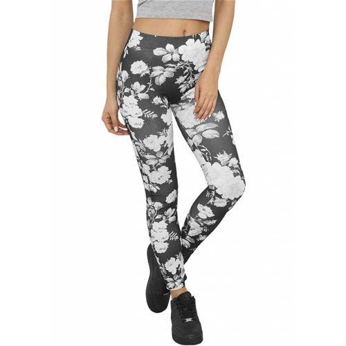 Dames bloemen print legging zwart/wit
