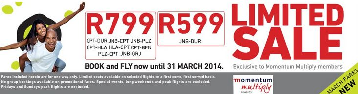 Mango Airlines Momentum Multiply sale in March 2014 for flights in March 2014 http://www.southafrica.to/transport/Airlines/mango-flights/mango-momentum.php