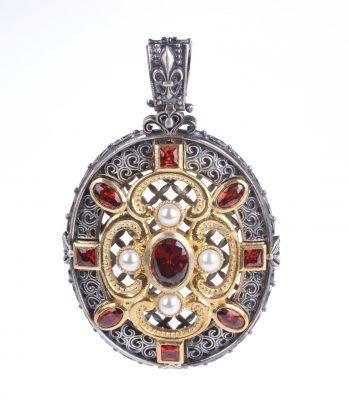 925 Ayar Gümüş Garnet Taşlı Kolye Ucu