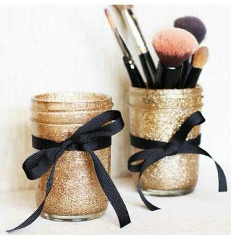 DIY make-up brush holder. Glittery, sparkles, jars, so cute!