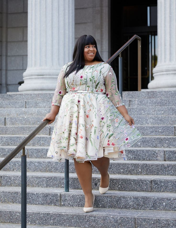 Apparently I have a love for party dresses, even though I don't go to party-dress parties. Not a color I'd usually choose, but I like the … in 2020 | Plus size ivory dresses, Plus size dresses, Plus size clothing stores