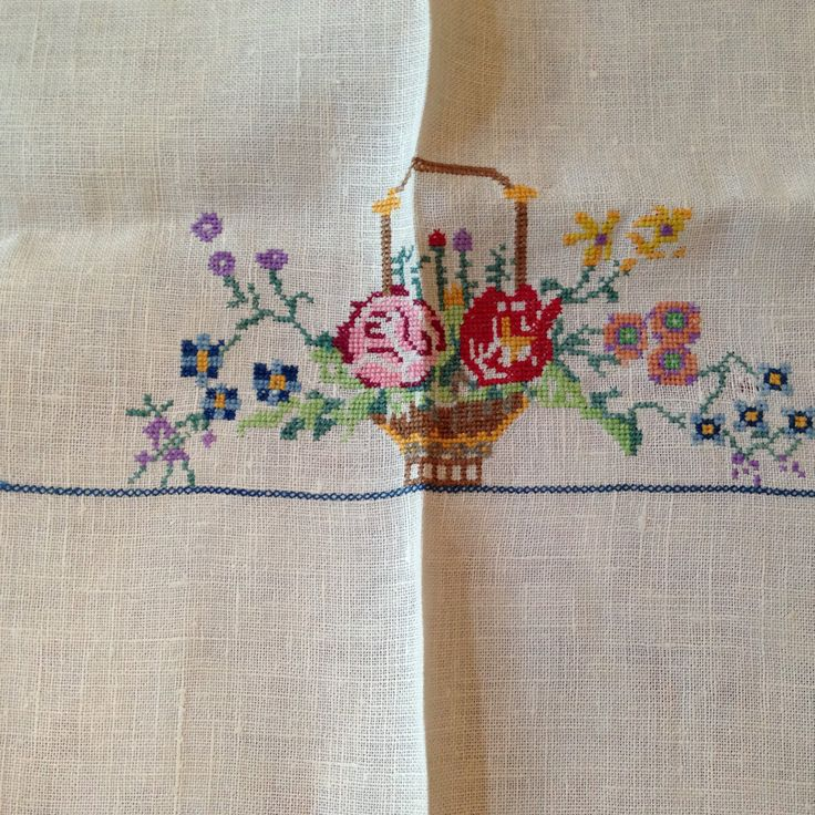 Tablecloth Napkins Embroidered Vintage 1940 Napkin Set Holiday Table Linen Christmas Gift Basket Flowers Pink by ChezKathleen on Etsy