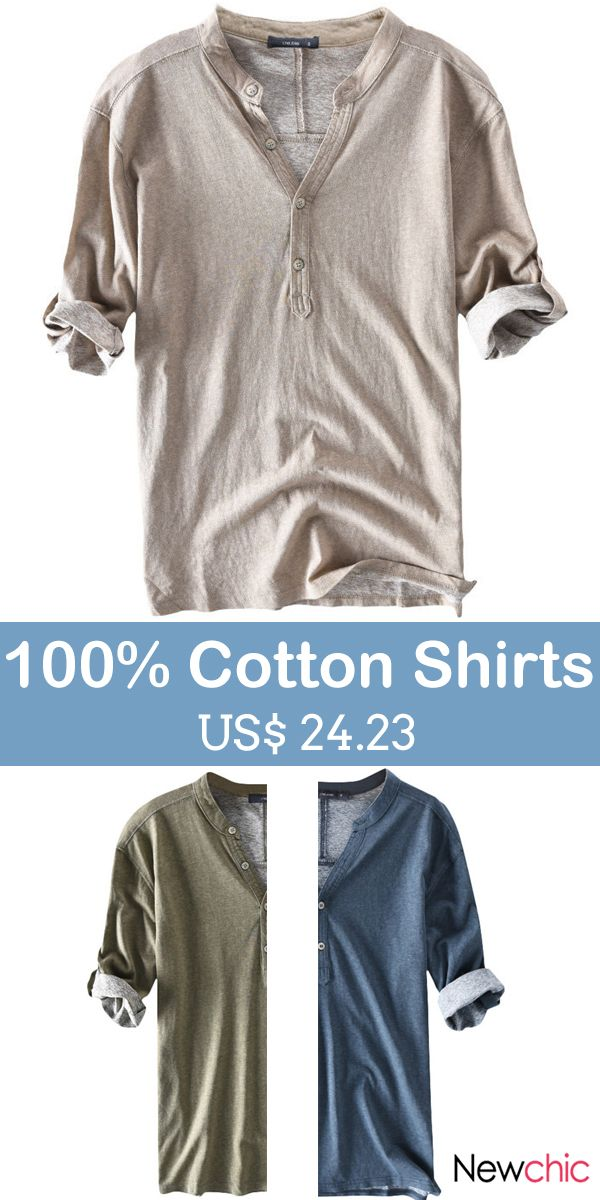 Casual 100% Cotton Breathable Solid Color Half Sleeve Spring Summer Buttons T Sh… – Silver