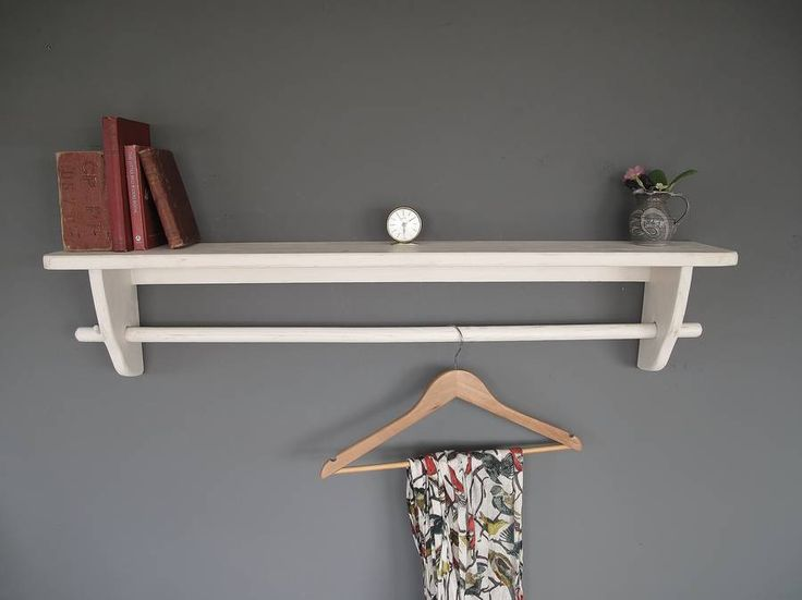 Beautifully simple shelf with handy clothes rail Hollyhock A warm and pale neutral-this colour has been used extensively for many years as it is very easy on the eye Mid Gauze (pale Blue) Linen Wash A broken and pared down natural linen colour,should be used in place of white in many projects Mid French GreyThese wonderful space saving shelves are ideal if you're limited with space. The clothes rail would be perfect to hang shirts, dresses and scarves. This pretty shelf would also suit a…