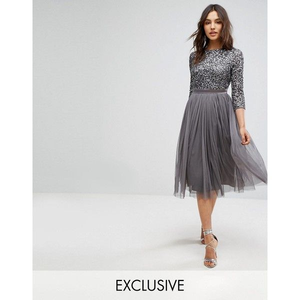 Maya 3/4 Sleeve Midi Dress in Tonal Delicate Sequin and Puffy Tulle... ($145) ❤ liked on Polyvore featuring dresses, grey, sequin cocktail dresses, gray maxi dress, 3 4 sleeve maxi dress, midi dress and tulle prom dress