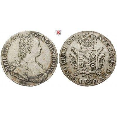 Römisch Deutsches Reich, Maria Theresia, Dukaton 1750, ss+: Maria Theresia 1740-1780. Dukaton 1750 Antwerpen. Büste r. / gekr.… #coins