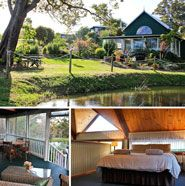 Hillview Cottage Spa Chalet, Denmark, Western Australia  Quaint 2 bedroom chalet cottage set on one hectare of beautifully landscaped gardens, with private lagoon, only 1km from town. Ideally situated just off the picturesque Scotsdale Tourist Drive, across from the Denmark River. The 2 bedroom chalet has two queen-size beds, one on the open mezzanine and one on the lower floor just off the open-plan spacious living area.