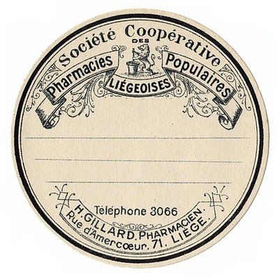 Click above for full size view This is a fabulous old French Apothecary/Pharmacy label! You could use this one to make some beautiful towels for your powder room. Just print the label up onto a sheet of iron on transfer paper and then apply it to plain white linen guest towels.
