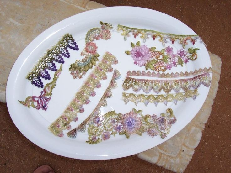 Delightfully Crazy: Hand Dying Lace/Motifs, Ribbons and Threads Tutorial