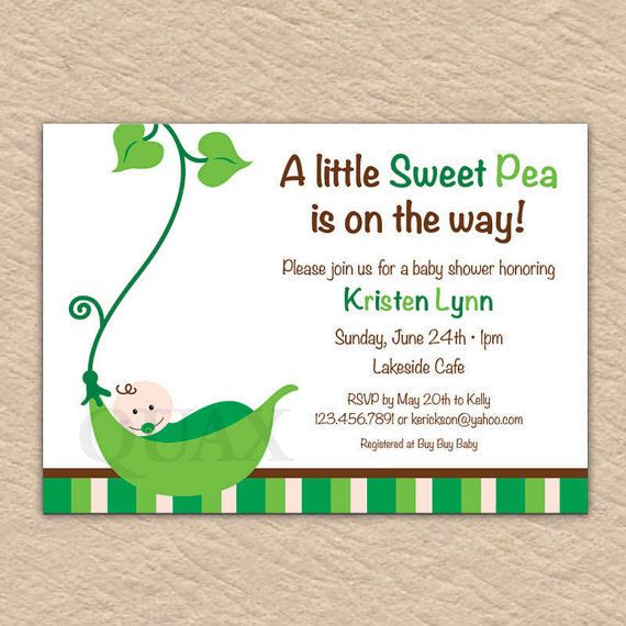 Sweet Pea Baby Shower Invite PRINTABLE INVITATION DESIGN By Quax, $12.00