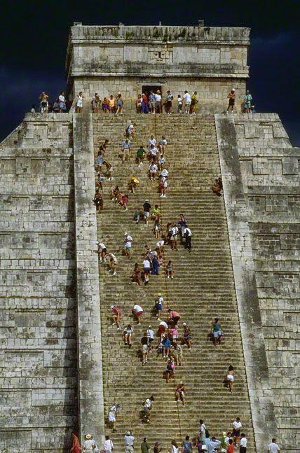 The Mayan pyramid of Kukulkan at Chichen Itza - Yucatan Peninsula, Mexico  I climbed it