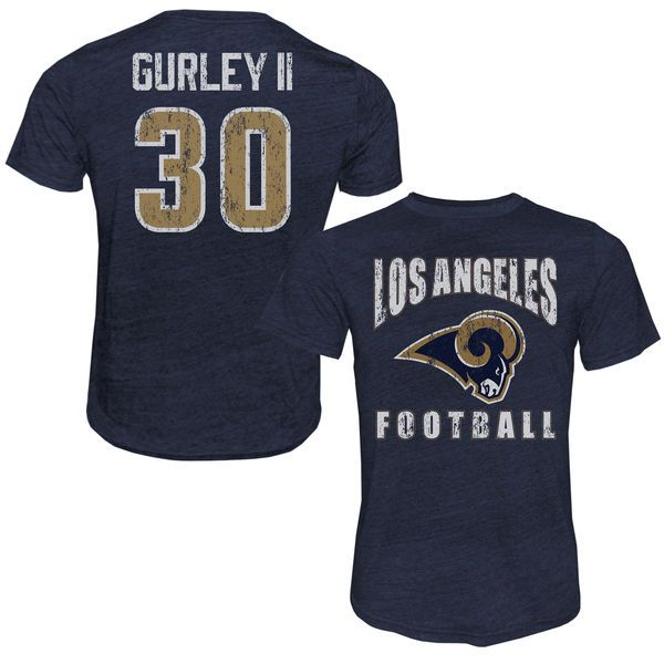 Todd Gurley II Los Angeles Rams Majestic Tri-Blend Player Name & Number T-Shirt - Navy - $39.99