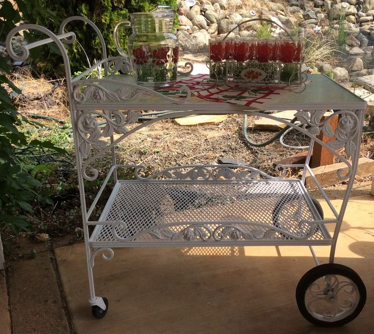 Rose Castings Tea Cart With Vintage Roses Pitcher, Glasses And Roses Holder