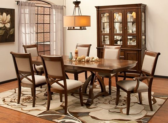 A Caramel Finish And Sage Upholstery Make This Jessica Dining Set Perfect Fit For Your Refined Room