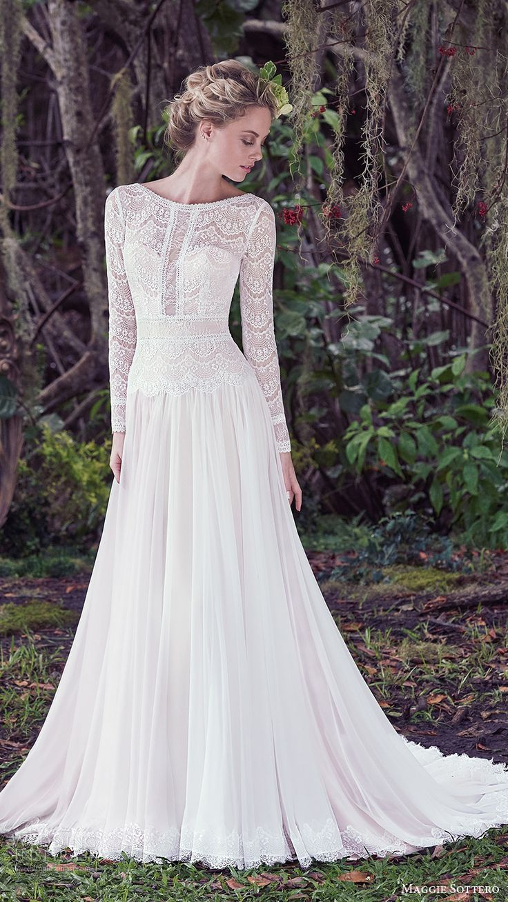 maggie sottero bridal fall 2016 long sleeves bateau neck aline wedding dress (deirdre) mv romantic train http://fave.co/2dj7xFO