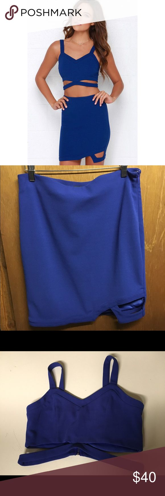 Lulu*s Royal Blue Cut Out Two Piece Dress Worn once- in excellent condition. Zip up back on top & zip & clip on side on skirt. Cut out designs. Very cute for a night out! Lulu's Dresses Mini
