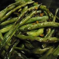 Chinese Restaurant-style Sauteed Green Beans Recipe. 1lb bag frozen green brands, x4 spices, add 3 cups shrimp and some rice. So good!!
