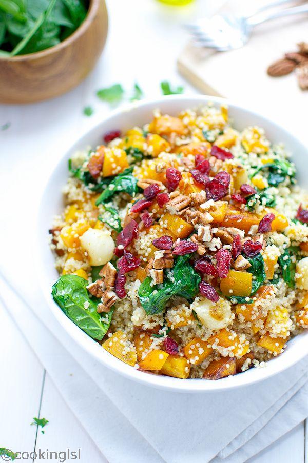 Quinoa com abóbora, espinafre e uvas-do-monte.  Fotografia: http://cookinglsl.com