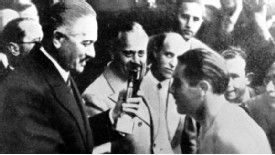 Guiseppe Meazza receives the 1938 World Cup for Italy .... Get your FREE DOWNLOAD of the SportsQuest app at www.sportsquestapp.com @SportsQuestApp