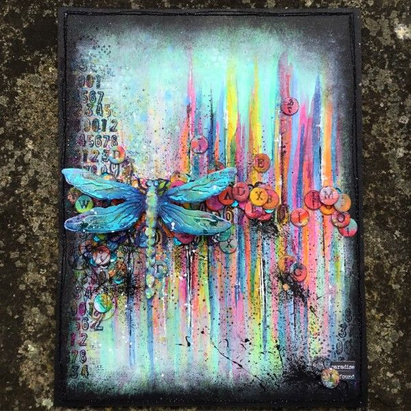 Kassa used a Tim Holtz Sizzix Dragonfly Die as the focus point on her Simon Says Stamp Monday Challenge project.