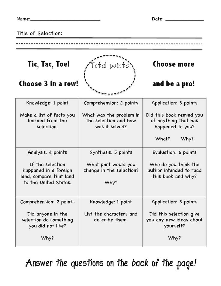 Bloom's with a fun twist, they have to do 3 in a row after they've read a selection of text.... Great idea but... I would rearrange the questions/activities so that they would have a good variety.  On this one...across the middle is all high level and across the bottom is all low level