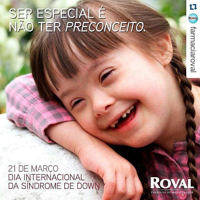#Repost @farmaciaroval with @repostapp  O Dia Mundial da Síndrome de Down foi proposto pela Down Syndrome International como o dia 21 de Março fazendo uma alusão à data 21/3 com a trissomia no par 21. A primeira comemoração da data foi em 2006.  A síndrome de Down não é uma doença. É uma ocorrência genética natural que no Brasil e está presente em todas as raças. Por motivos ainda desconhecidos durante a gestação as células do embrião são formadas com 47 cromossomos no lugar dos 46 que se…