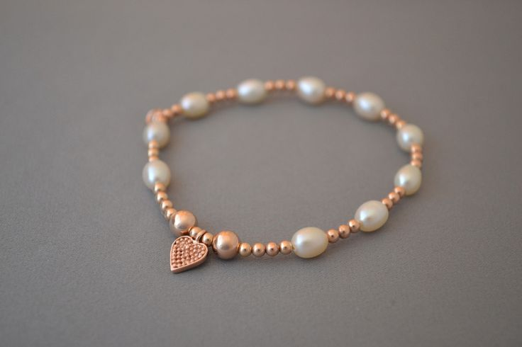 Rose Gold bead and pearl bracelet with Rose Gold heart charm