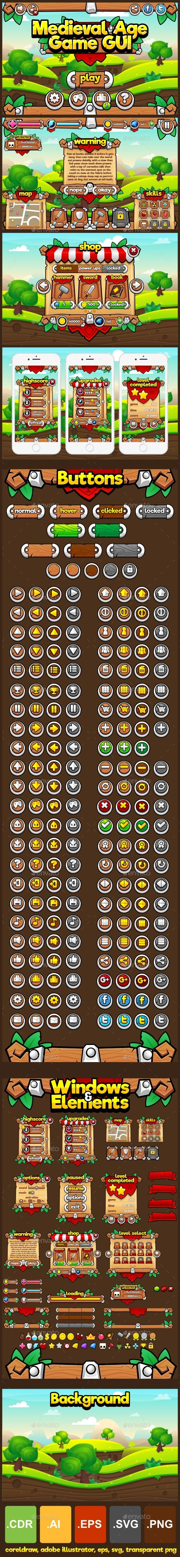 Medieval Age - Game GUI - User Interfaces Game Assets